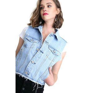 Umgee Sleeveless Light Wash Cropped Denim Vest